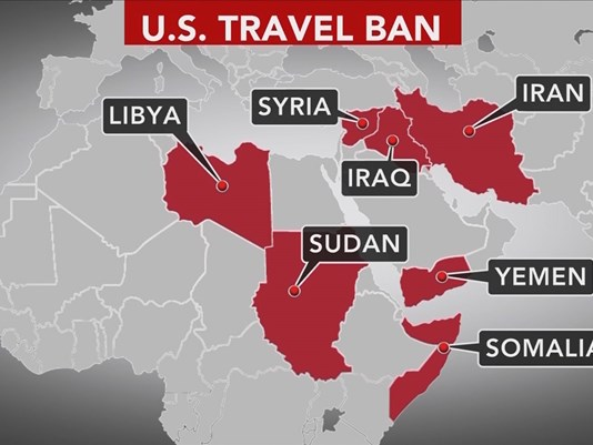 A map depicts the locations in which President Trump initiated a travel ban.
