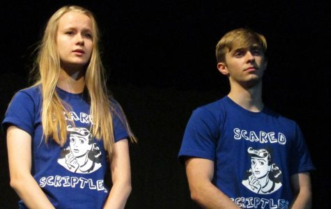 Seniors Natalia Szarmach and Carson Dowhan rehearse lines in the Little Theater.