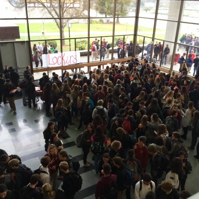 Students+crowd+in+the+forum+during+the+first+day+back+at+school+as+they+wait+to+receive+their+new+lockers.