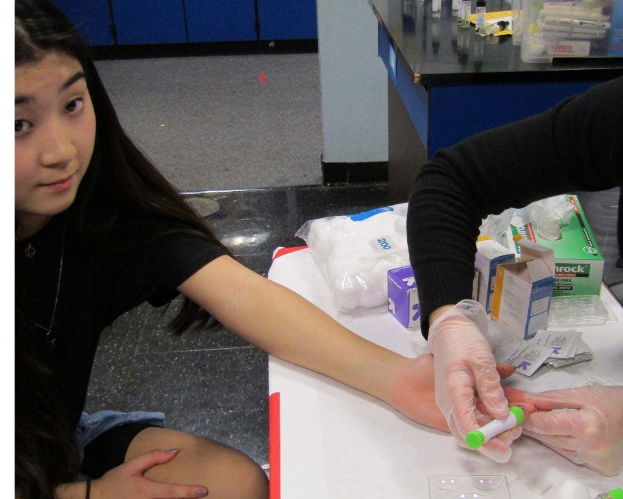 Junior+Anna+Seiki+gets+her+finger+pricked+at+annual+physiology+class+blood+testing.+