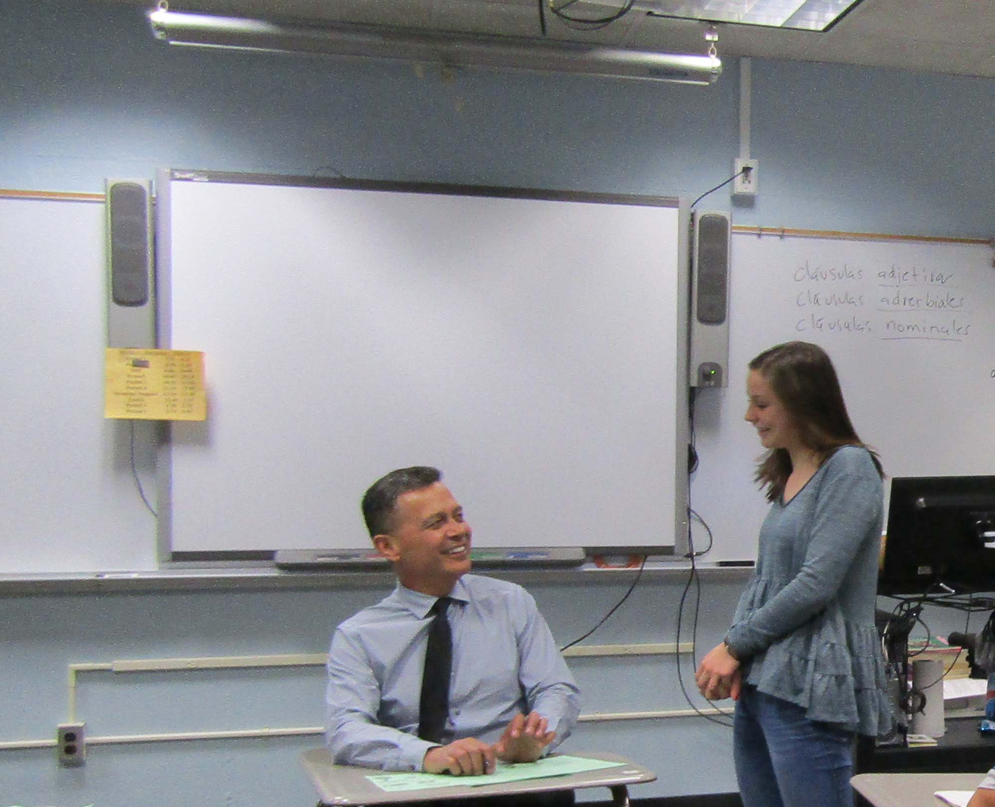 Mr. Fajardo helps sophomore Olivia Wirig with her spanish work.