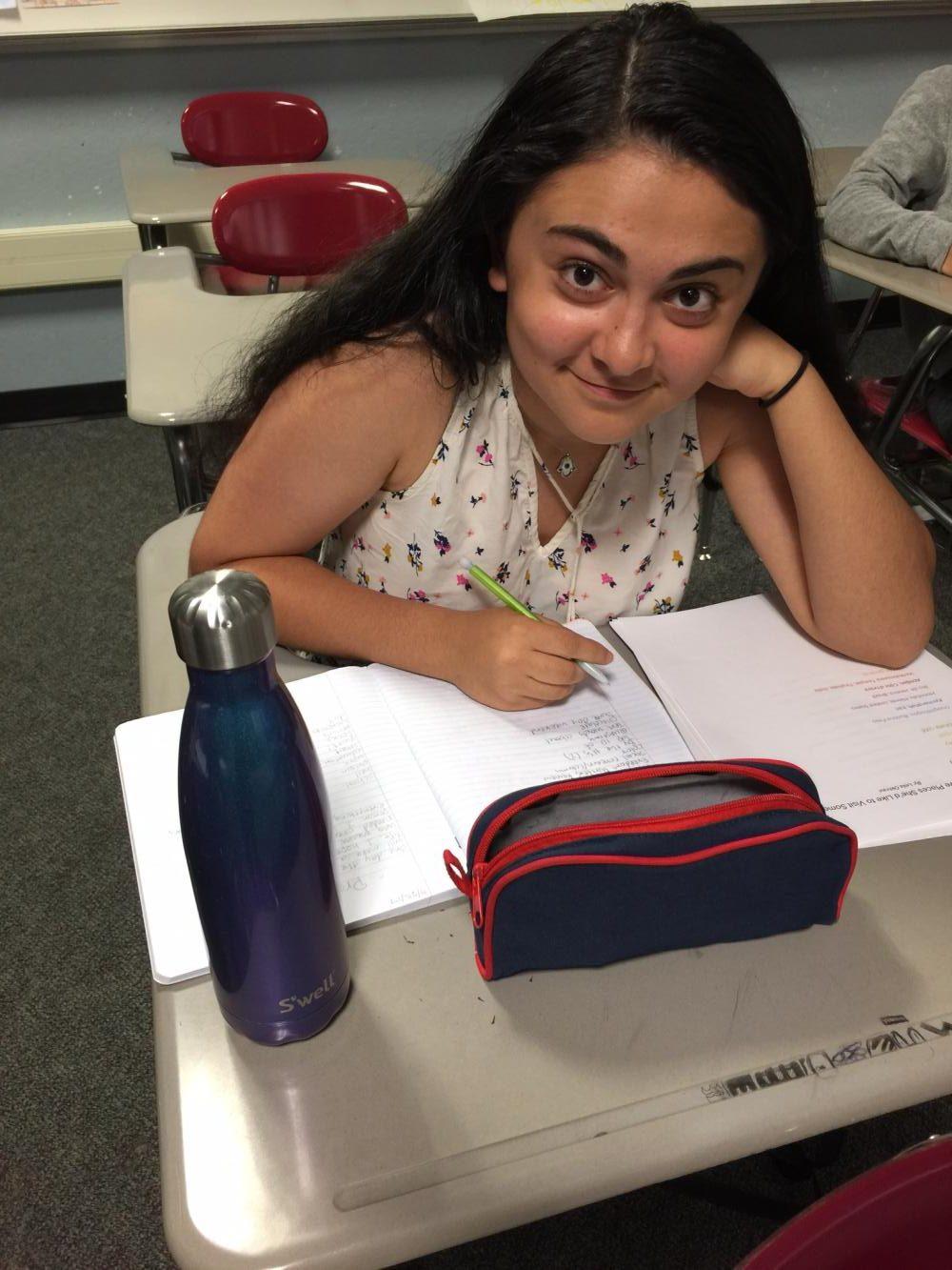Freshman Leila Okhravi looks forward to a better method for filling her water bottle.