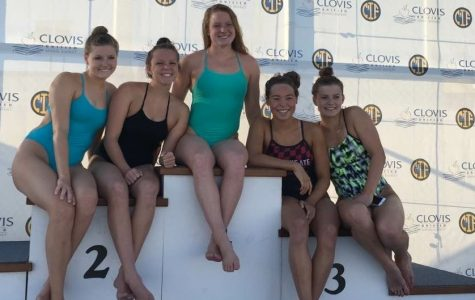 Seniors Carlie Polkinghorn, Rebecca Proctor, Bryn McGowan, junior Emma Smethurst, and senior Taylor Cossu, seen here before the start of the meet, competed May 19 and 20 in the CIF (California Interscholastic Federation) swim meet.