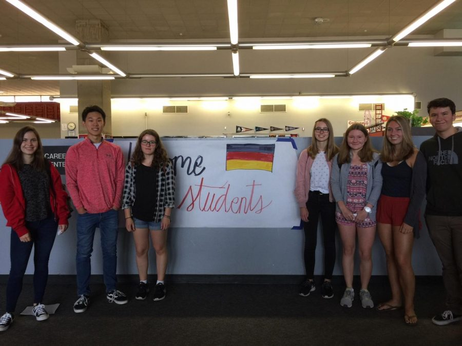 German students tour campus as part of an exchange.