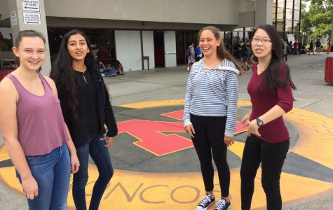 Sophomores Maggie Levy, Stuti Pradhan, Katerina Stahl, and Jennifer Yee, who regularly eat lunch together in front of the new compass mural, say they enjoy the outdoor art.