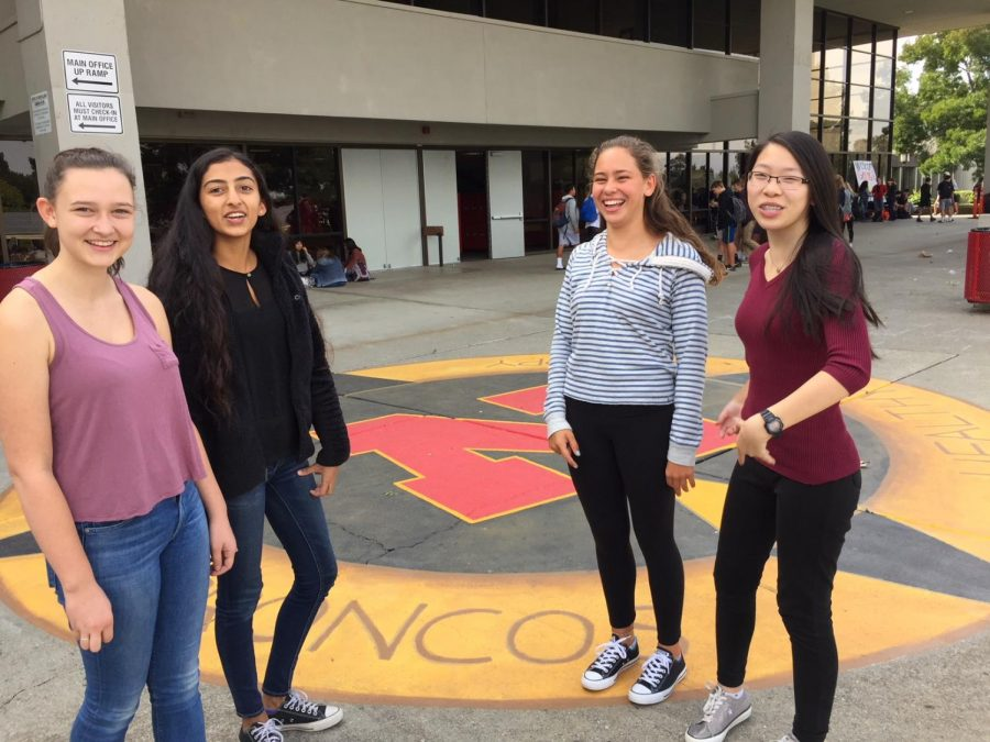 Sophomores+Maggie+Levy%2C+Stuti+Pradhan%2C+Katerina+Stahl%2C+and+Jennifer+Yee%2C+who+regularly+eat+lunch+together+in+front+of+the+new+compass+mural%2C+say+they+enjoy+the+outdoor+art.+