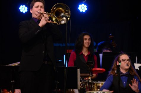 Junior Kirby Galbraith, senior Stephanie Guerrero, and senior Sophie Haney perform March 10 with Jazz Band I in Monterey, winning the top honor of the Next Gen festival.