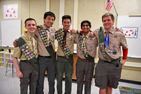 Junior Cameron Paloutzian, senior Brendan Thio, senior Jonathan Louis, junior Rohith Moolakatt and junior Connor Akers are new Eagle Scouts in Troop 810.