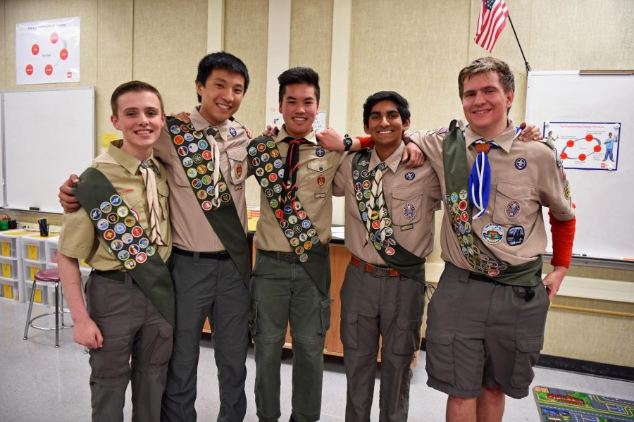 Junior+Cameron+Paloutzian%2C+senior+Brendan+Thio%2C+senior+Jonathan+Louis%2C+junior+Rohith+Moolakatt+and+junior+Connor+Akers+are+new+Eagle+Scouts+in+Troop+810.