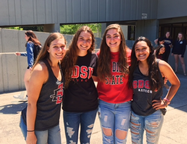 Lindsey+Cannon%2C+Naomi+Jenkins%2C+Jadyn+Brandt+and+Zoe+Zri+are+four+of+the+26+Northgate+grads+who+will+attend+San+Diego+State+University+this+fall.+SDSU+is+the+four-year+college+with+the+most+number+of+students+attending.+%0A%0ALind