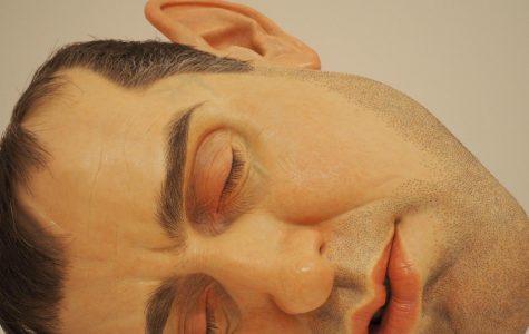 A hyperrealistic sculpture of a man's face.