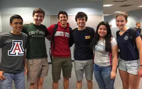 Class of 2019 seniors Mitchell Chang, Daniel McFarland, Mateo Etcheveste, Adam Woo, Mia Caparez and Jessie Biddle proudly rep attire for their future schools on national college decision day.