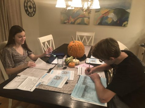 Ella and Shane Johnson, seniors who turned 18 Sept. 16, study election issues and prepare their ballots in October. They plan to deliver them to a Contra Costa County voting drop box.