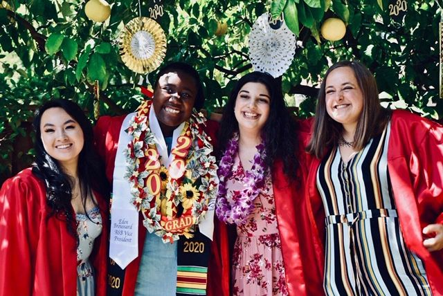 Friends Tralena Tran, Eden Broussard, Dalia Zarour and Grace Fenstermacher, four of the 373 members of the class of 2020, enjoy the end of high school in June 2020 before embarking on their next steps in education.