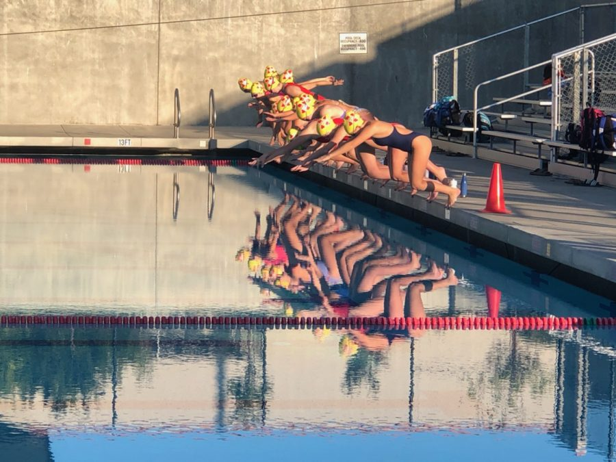 Junior varsity girls water polo players don't pause for reflection as they start their practice Nov. 3, one of many Northgate sports camps underway since late summer as teams await a delayed start to the fall sports season.
