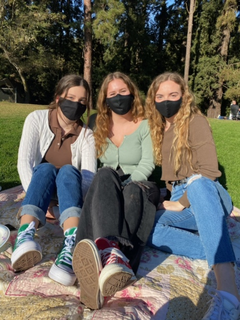 Senior Margot Smethurst set a 2020 goal to read more and completed 35 books. This year Smethurst, at far right with Northgate friends Emily Titterton and Sarah Bonano at a park in Berkeley recently, has added fitness goals.