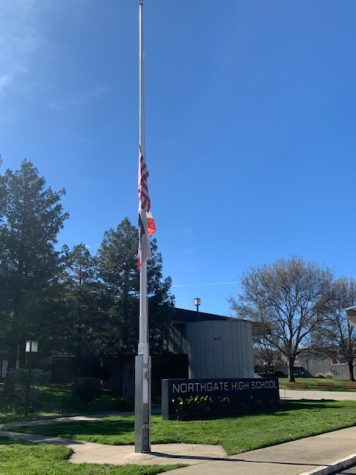 The United States and California state flags are lowered to half-staff on a breezeless Thursday Feb. 25, joining flags nationwide in memorial to those who have died of COVID-19.