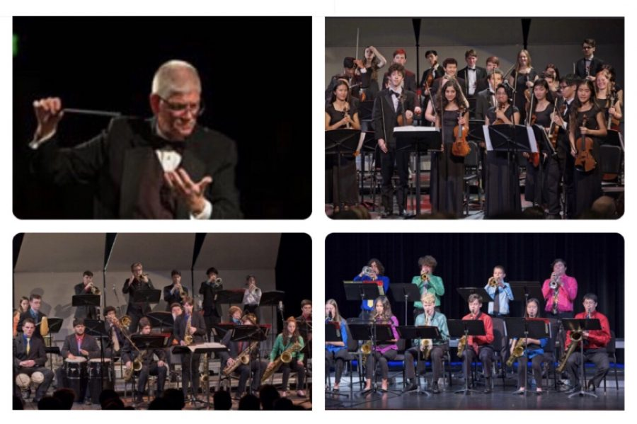 More than 100 students from Northgate's six musical groups will appear a virtual concert in March.  Pictured here is Director Greg Brown and music groups during performing during the 2019-20 school year (clockwise), Orchestra, Jazz Band II and Jazz Band I. A link to the March 26 concert will be provided.