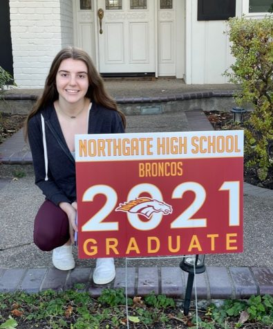 Senior Alina Stanley is one of hundreds of seniors who now have graduation signs, thanks to Northgate parents.