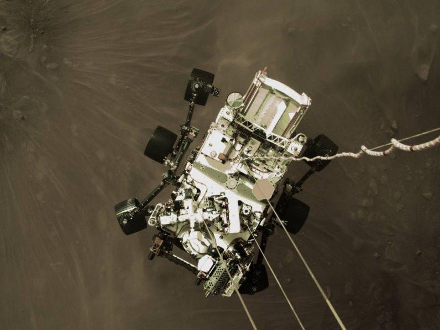 A still image taken as NASA's Perseverance rover landed on Mars on Feb. 18, 2021.