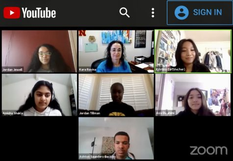 Participating by Zoom in a live forum during the introductory portion of the Dec. 9 forum are, from top right corner moving clockwise: Senior Christina Cổ, junior Ava Ebrahimi, freshman Ashton Saunders-Beckles, freshman Amisha Shukla, freshman Jordan Jewell, Vice Principal Kara Ravina and center, junior Jordan Tillman.