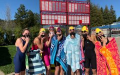 Northgate swimmers enjoy the down time during the March 26 meet at Campolindo High School, a five-team meet and the only one of the season. From left to right are freshman Abby Fox, freshman Josie Croy, junior Jaley Croy, senior Jasmine Kohlmeyer, junior Alyssa Lund, and senior Ainsley McNulty.