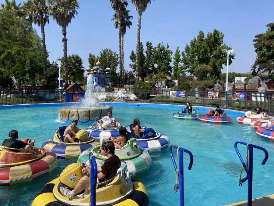 Seniors enjoy the bumper boats on a hot day Sept. 21 at Boomers in  Livermore for the Senior Picnic.