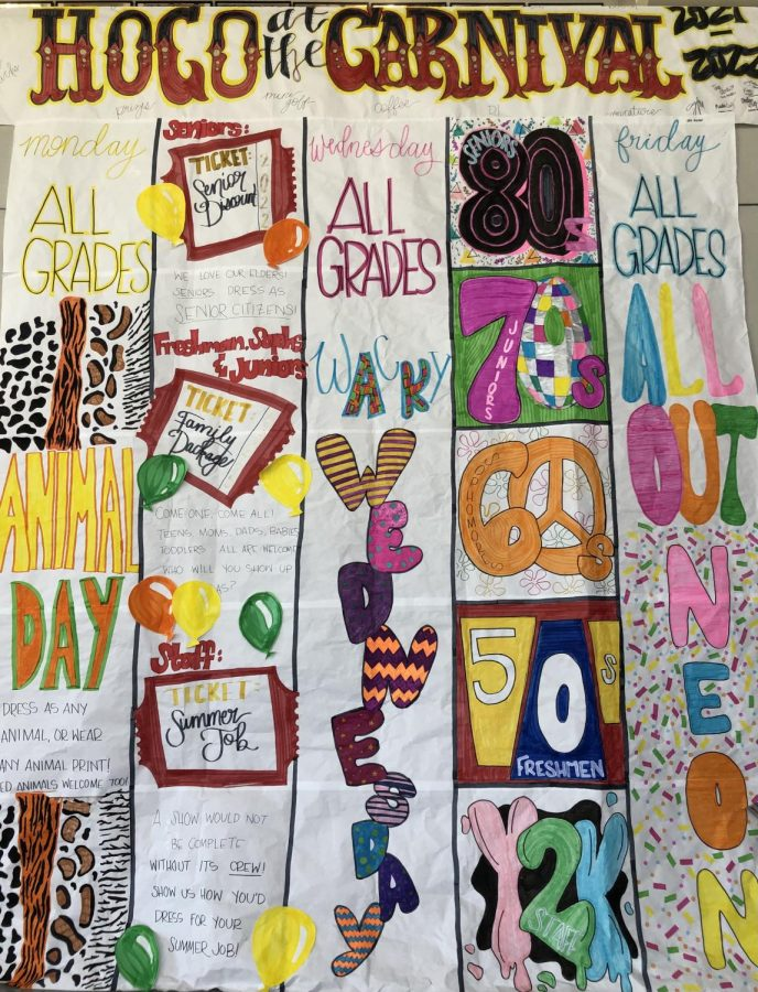 Homecoming at the Carnival is the theme of this years homecoming week, and students leaders have been busy planning for the week, including creating this sign hanging in the forum that lists all of the dress-up days and themes for each grade level.